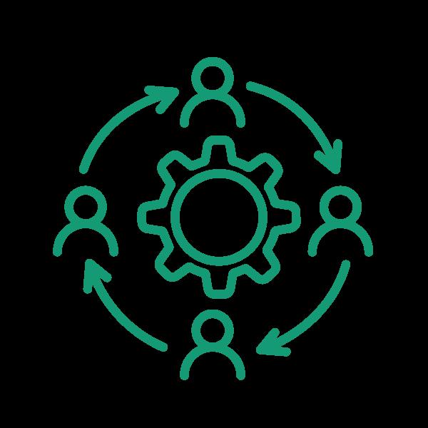 ícone de quatro pessoas em volta de uma engrenagem centralizada, com setas cíclicas entre elas