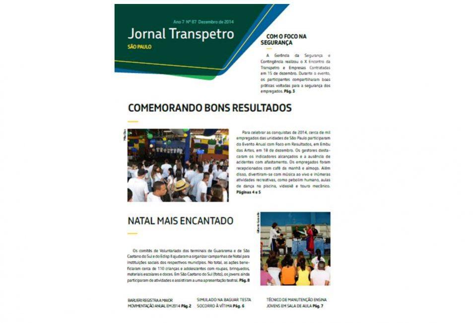 capa do Jornal Transpeto de edição de dezembro de 2014