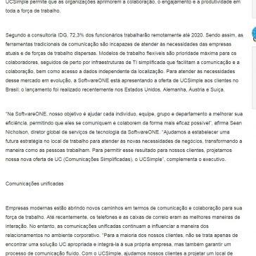 SoftwareONE lança serviço de comunicações unificadas UCSimple no Brasil- Porto Gente