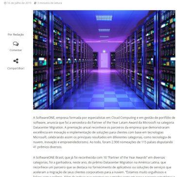 SoftwareONE vence o Partner of the Year Latam Award da Microsoft na categoria Datacenter Migration- InforChannel