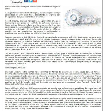 SoftwareONE lança serviço de comunicações unificadas UCSimple no Brasil- Difundir