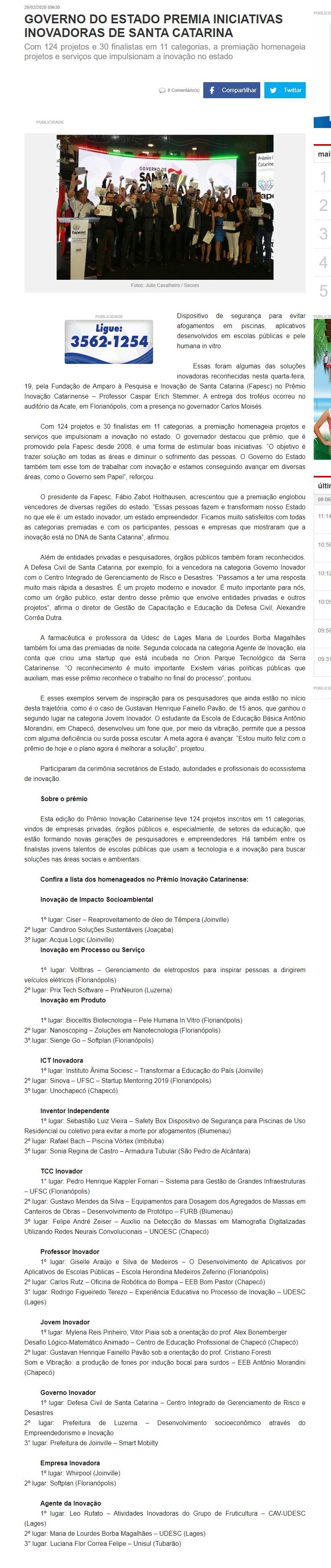 GOVERNO DO ESTADO PREMIA INICIATIVAS INOVADORAS DE SANTA CATARINA - Educadora