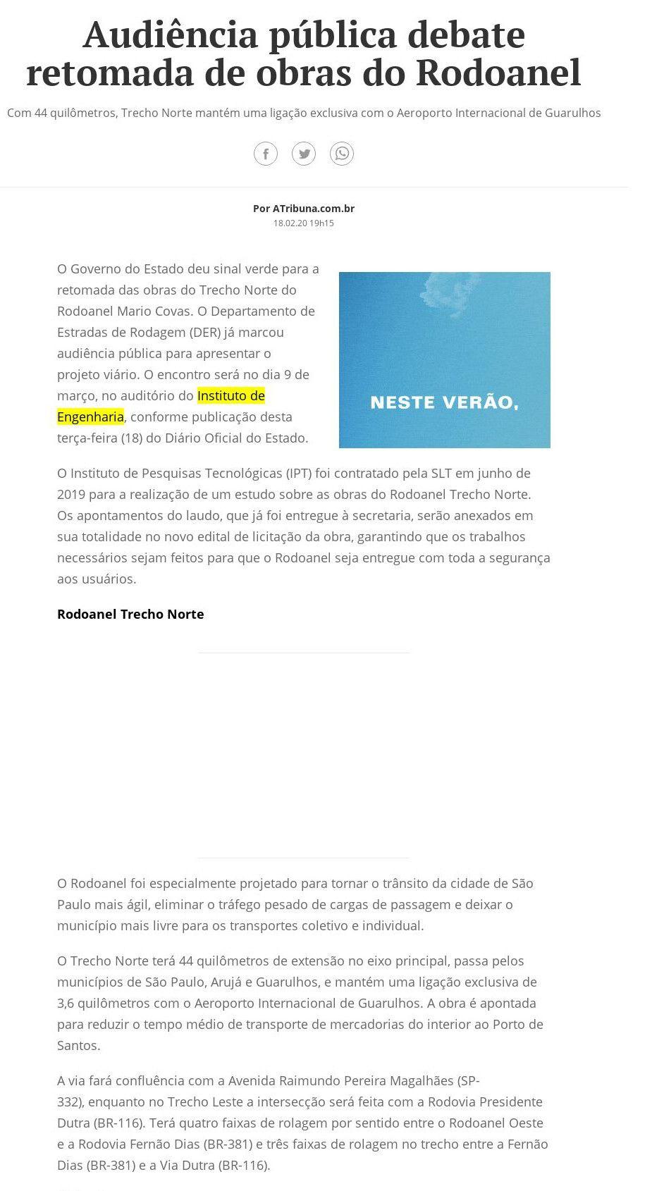 Audiência pública debate retomada de obras do Rodoanel - A Tribuna (On-line)