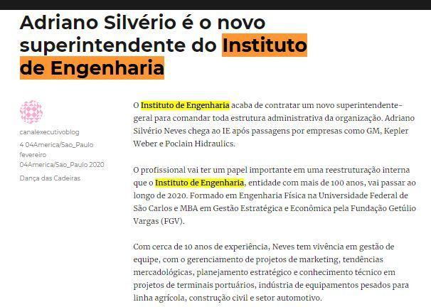 Adriano Silvério é o novo superintendente do Instituto de Engenharia - Canal Executivo Blog