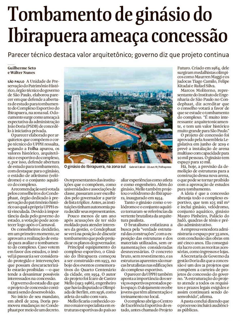 Tombamento de ginásio do Ibirapuera ameaça concessão - Folha de S. Paulo