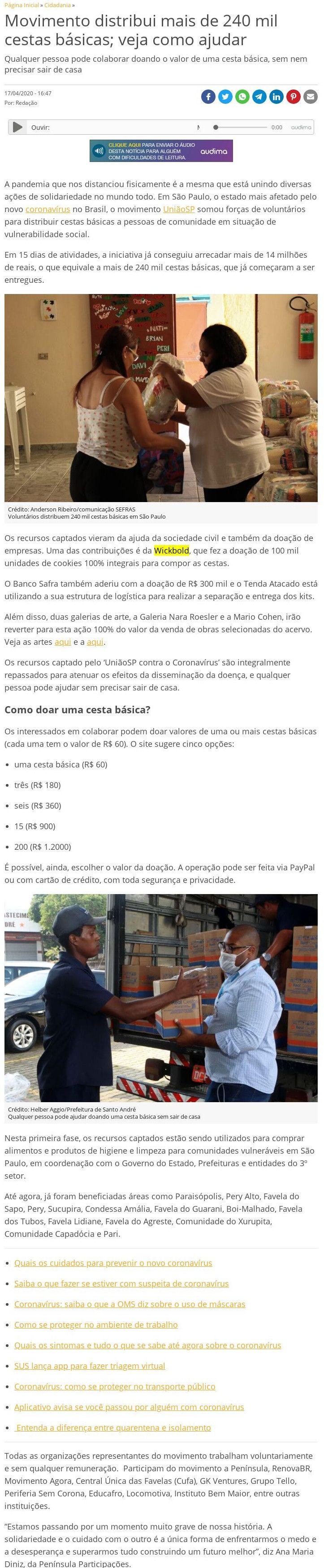Movimento distribui mais de 240 mil cestas básicas; veja como ajudar - Catraca Livre