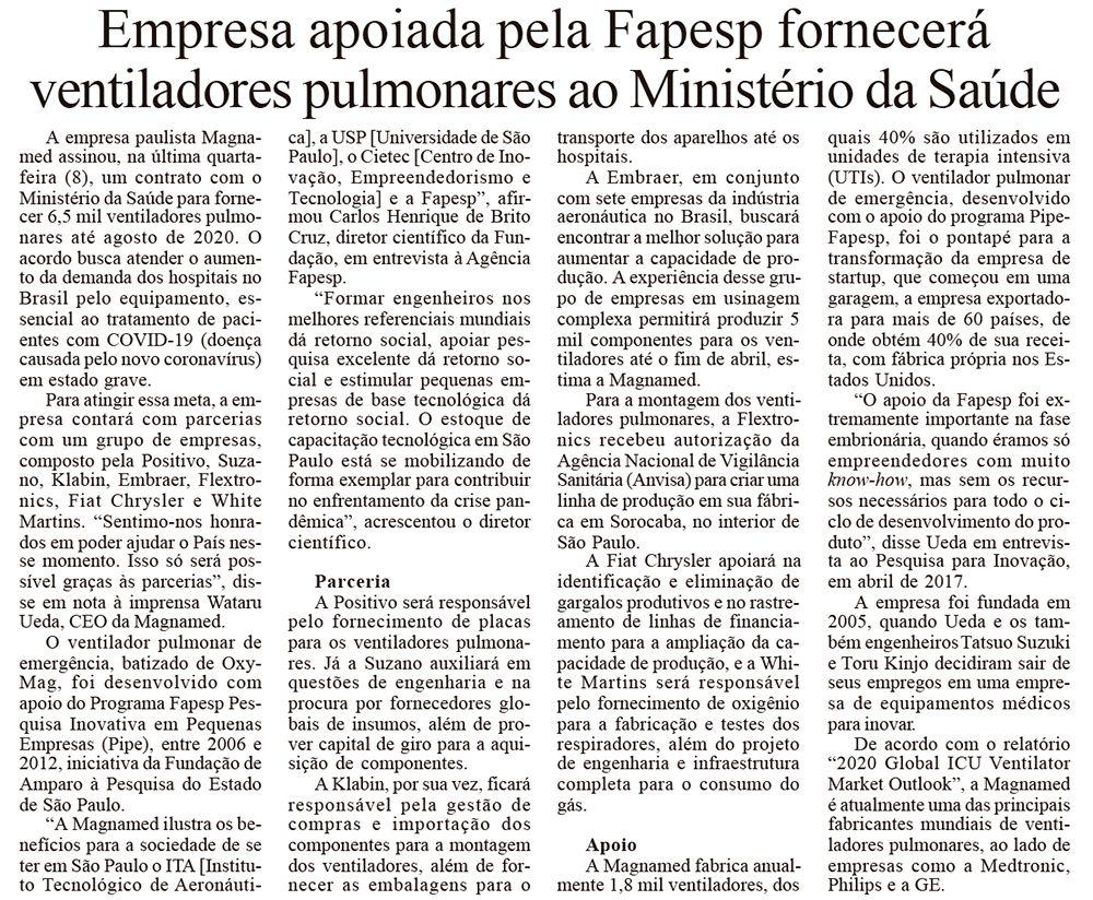 Empresa apoiada pela Fapesp fornecerá ventiladores pulmonares ao Ministério da Saúde - O Dia SP