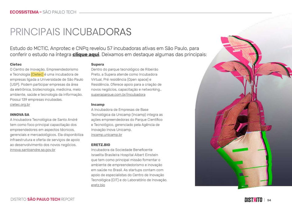 Principais incubadoras - Distrito São Paulo Tech Report 2020