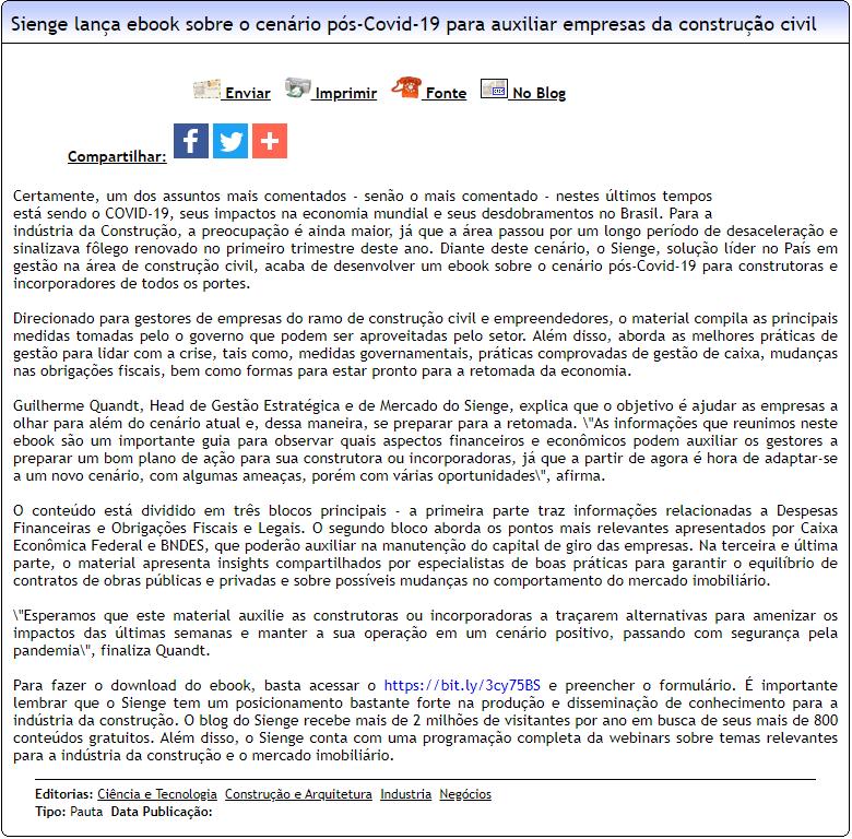 Sienge lança ebook sobre o cenário pós-Covid-19 para auxiliar empresas da construção civil - Difundir