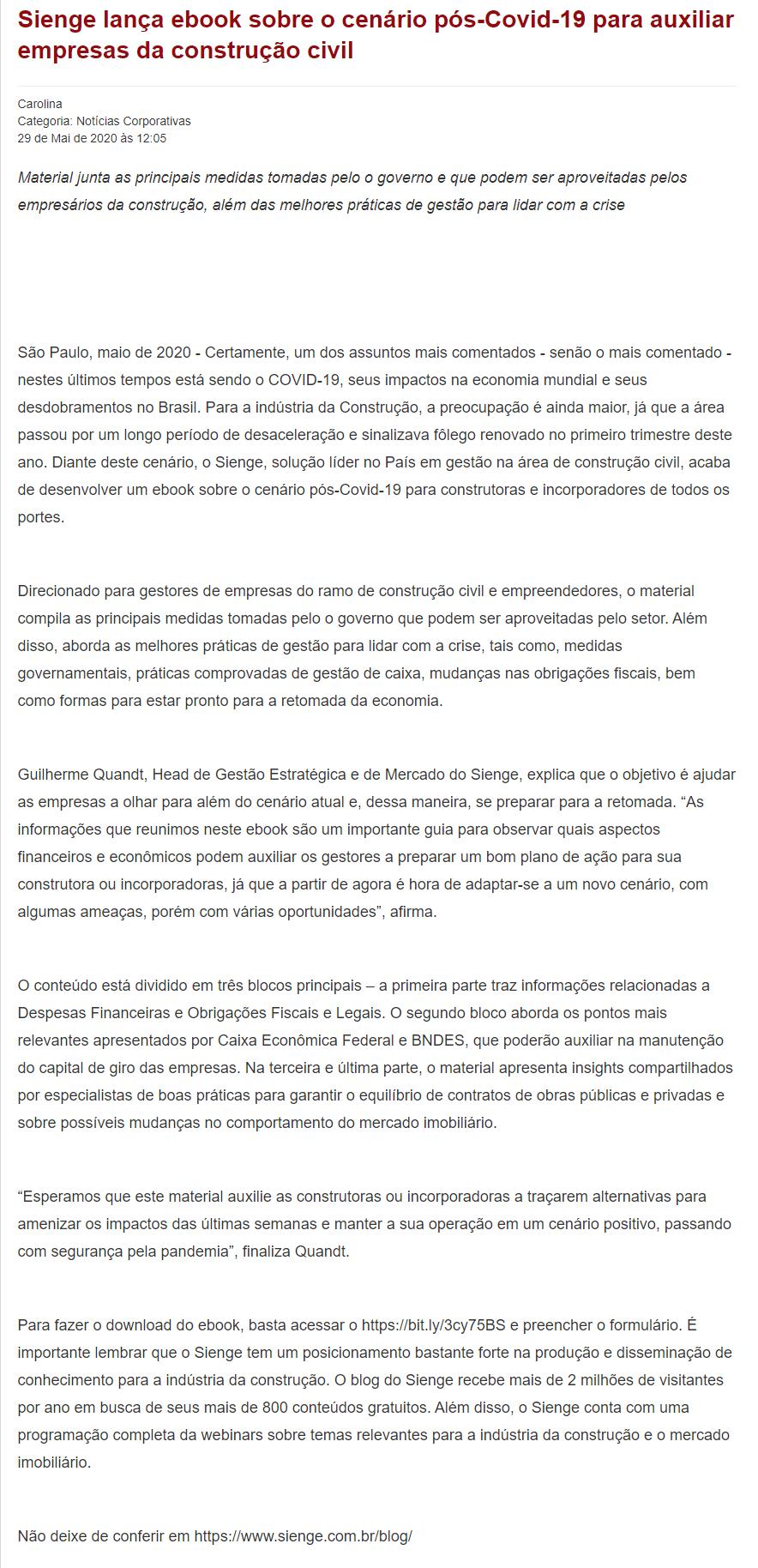 Sienge lança ebook sobre o cenário pós-Covid-19 para auxiliar empresas da construção civil - Portogente