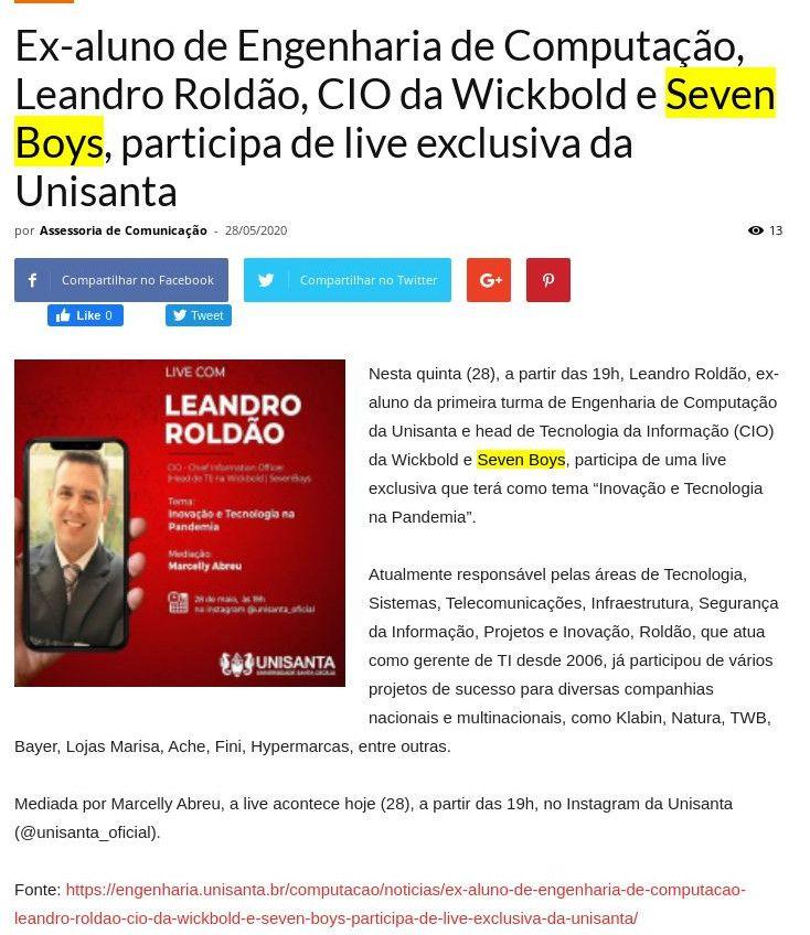 Ex-aluno de Engenharia de Computação, Leandro Roldão, CIO da Wickbold e Seven Boys, participa de live exclusiva da Unisanta