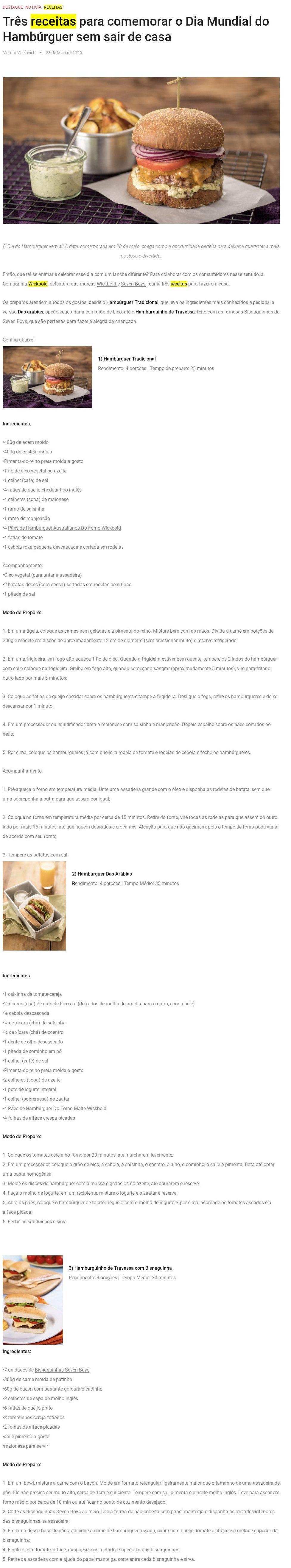 Três receitas para comemorar o Dia Mundial do Hambúrguer sem sair de casa - Capital Gourmet