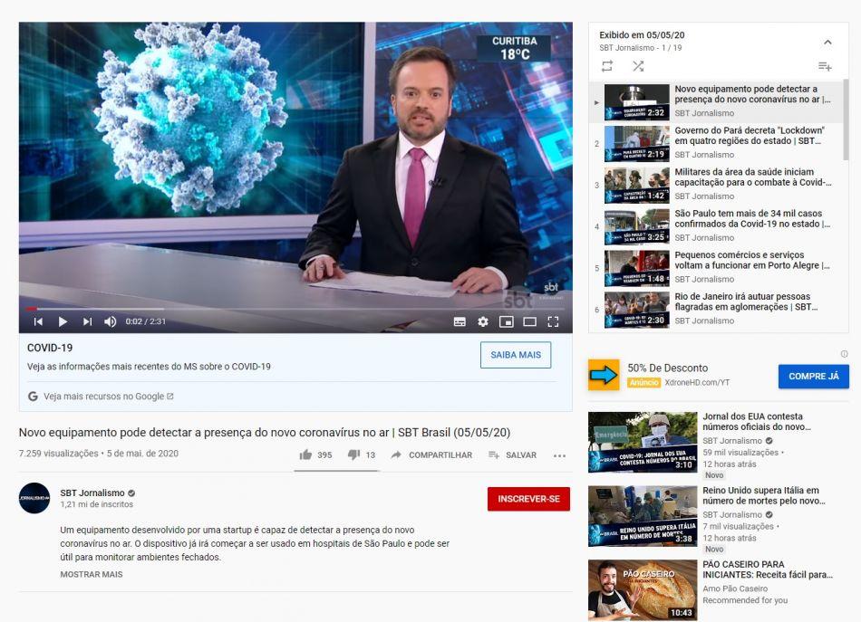 Novo equipamento pode detectar a presença do novo coronavírus no ar | SBT Brasil - You Tube