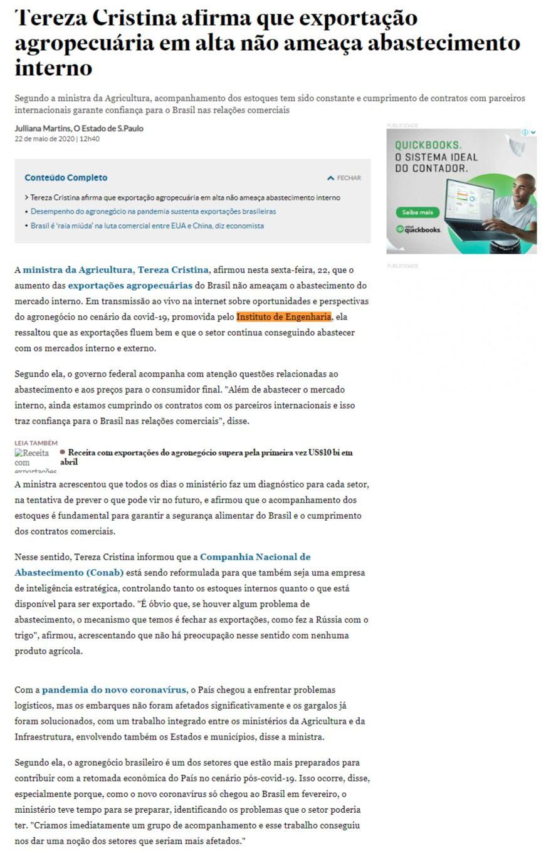 Tereza Cristina afirma que exportação agropecuária em alta não ameaça abastecimento interno - O Estado de S. Paulo (On-line)