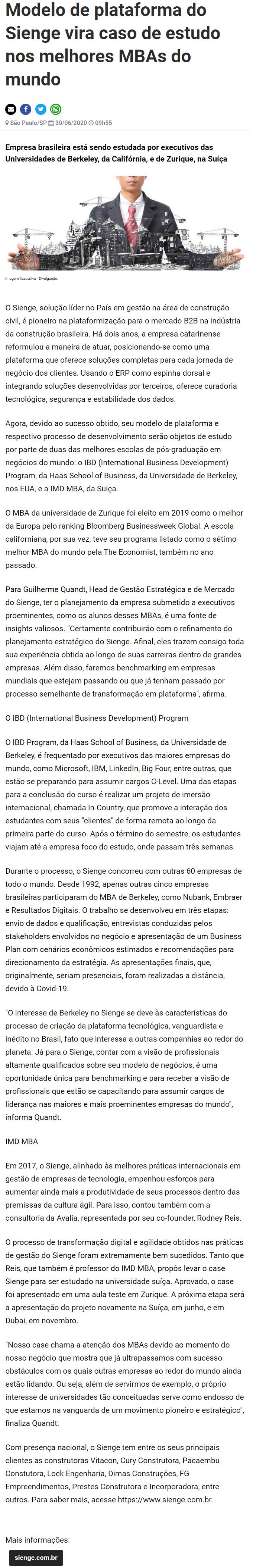 Modelo de plataforma do Sienge vira caso de estudo nos melhores MBAs do mundo - Negócios em Foco
