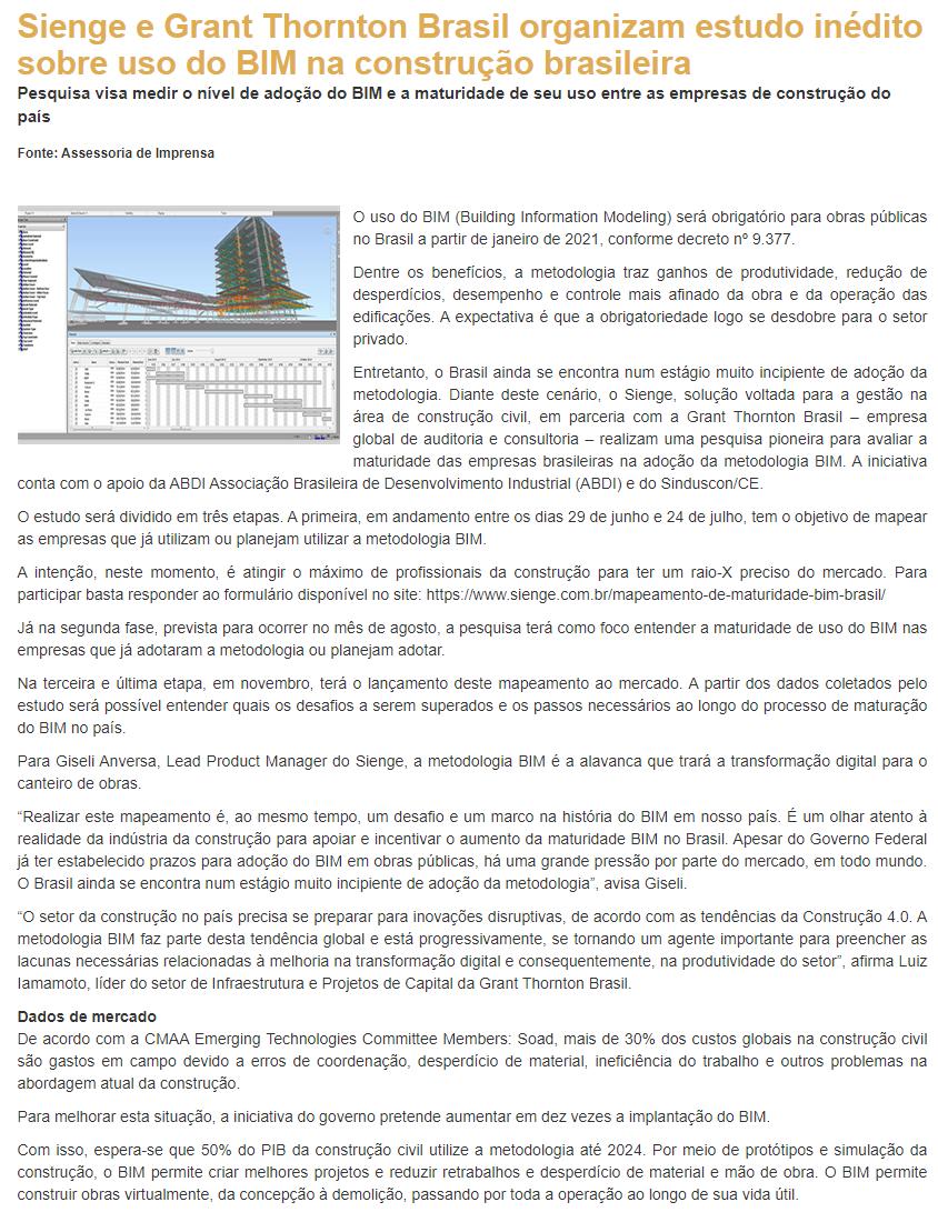 Sienge e Grant Thornton Brasil organizam estudo inédito sobre uso do BIM na construção brasileira - Revista Grandes Construções