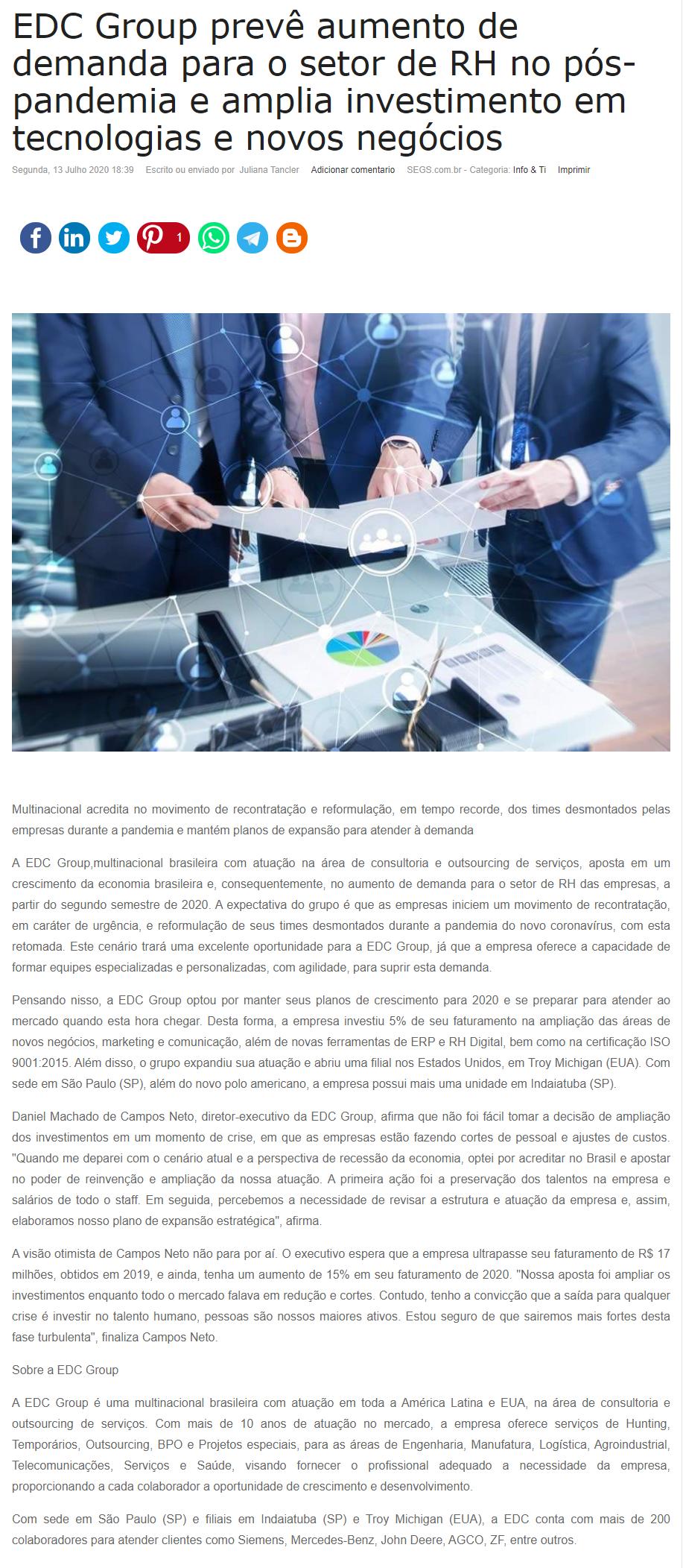 EDC Group prevê aumento de demanda para o setor de RH no pós-pandemia e amplia investimento em tecnologias e novos negócios - Segs