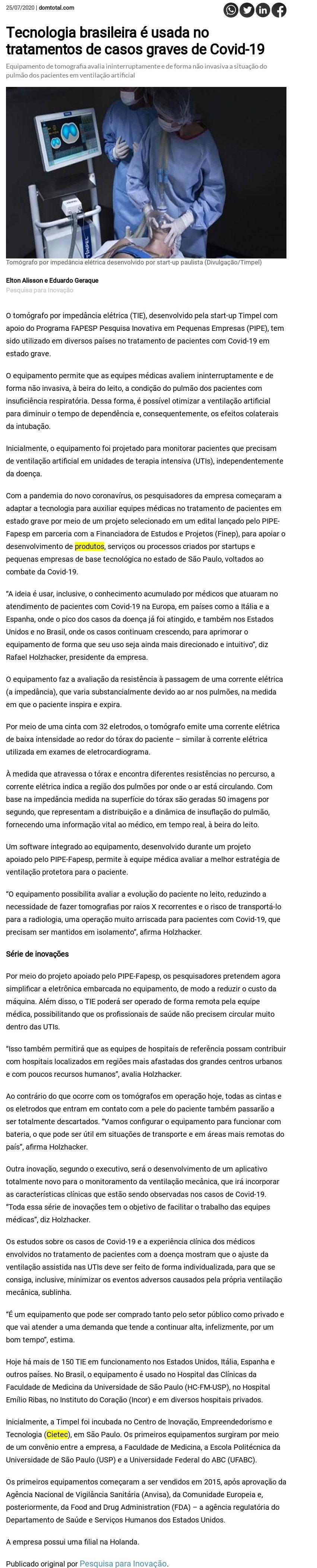Tecnologia brasileira é usada no tratamentos de casos graves de Covid - Dom Total