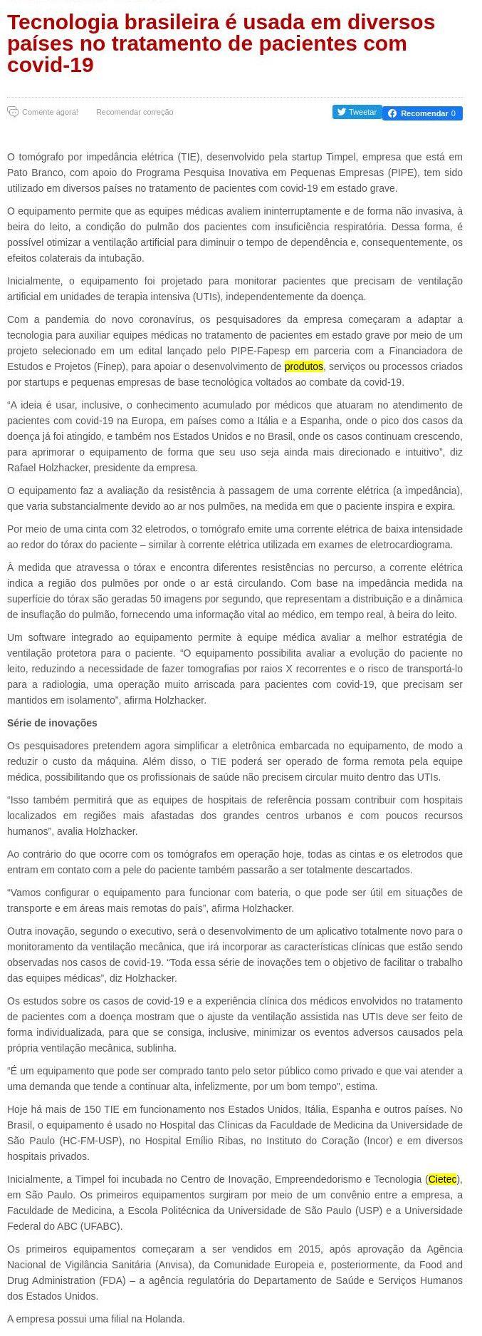 Tecnologia brasileira é usada em diversos países no tratamento de pacientes com covid-19 - Wh3