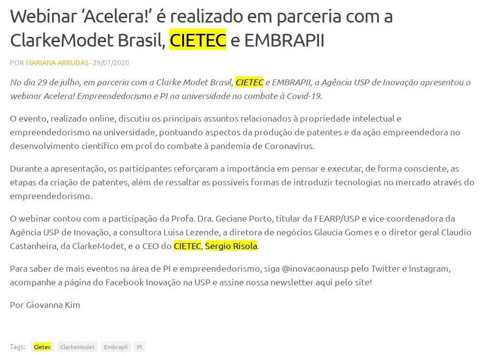 Webinar 'Acelera!' é realizado em parceria com a ClarkeModet Brasil, CIETEC e EMBRAPII - Agência USP de Inovação