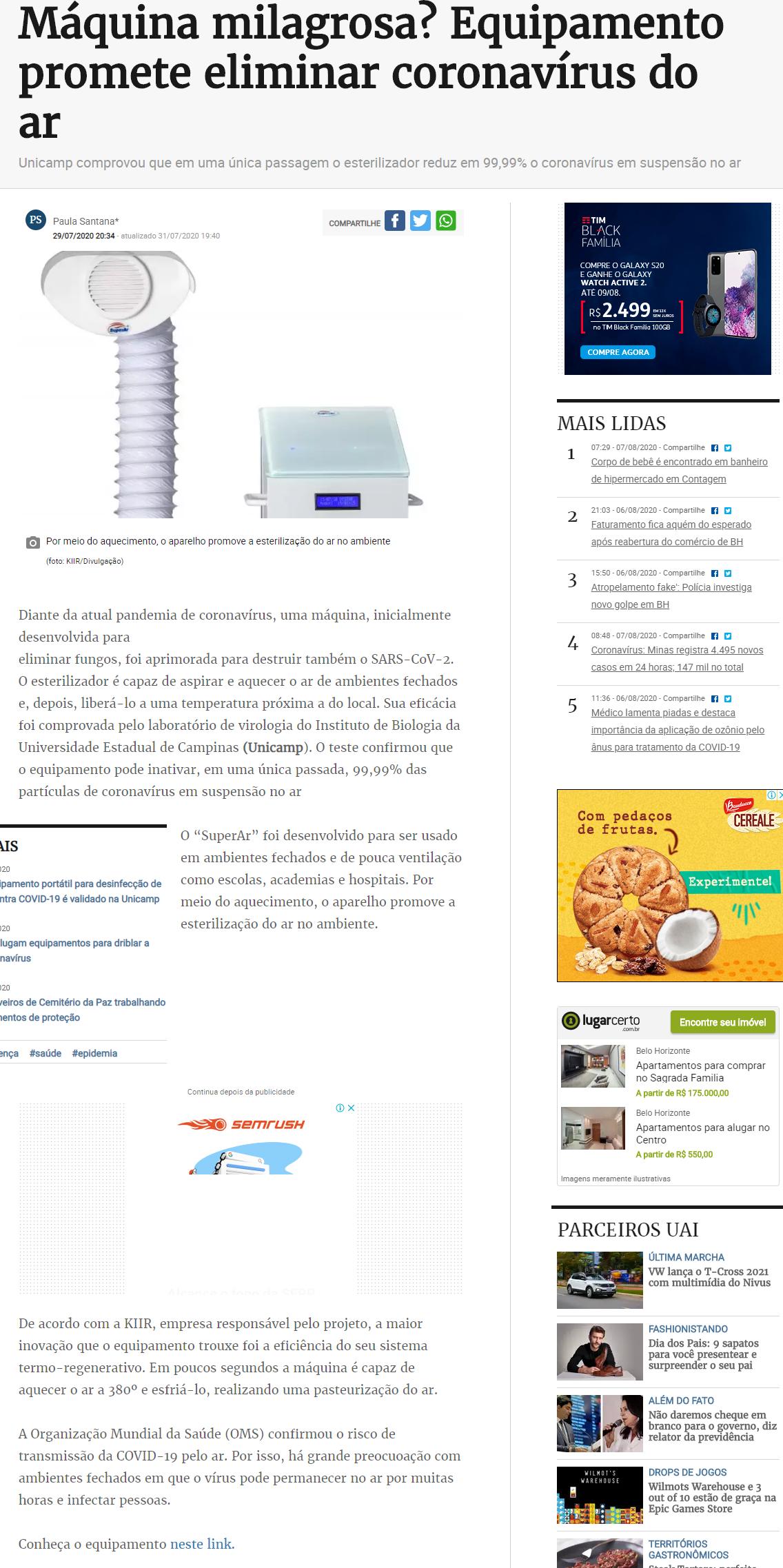 Máquina milagrosa? Equipamento promete eliminar coronavírus do ar - Estado de Minas