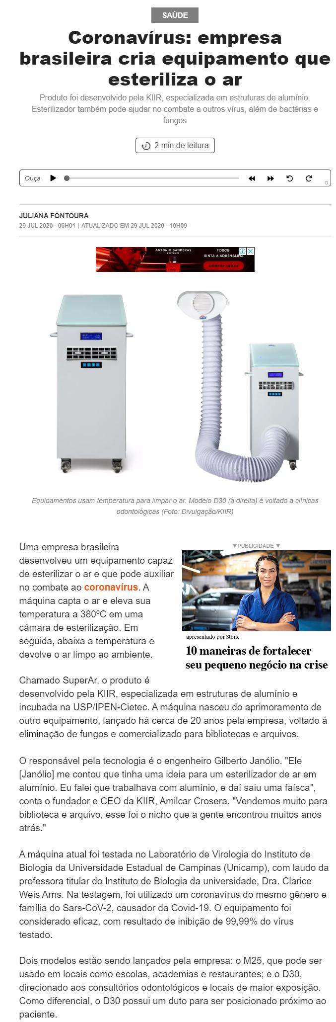 Coronavírus: empresa brasileira cria equipamento que esteriliza o ar - Pequenas Empresas Grandes Negócios