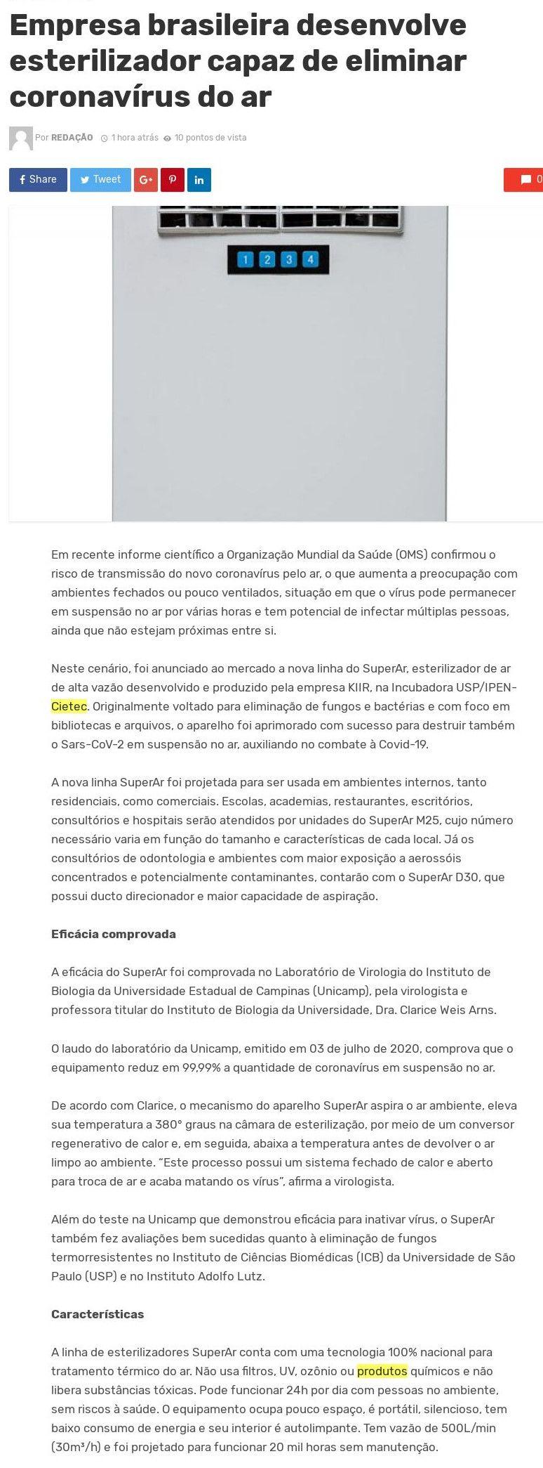 Empresa brasileira desenvolve esterilizador capaz de eliminar coronavírus do ar - Saúde Digital News