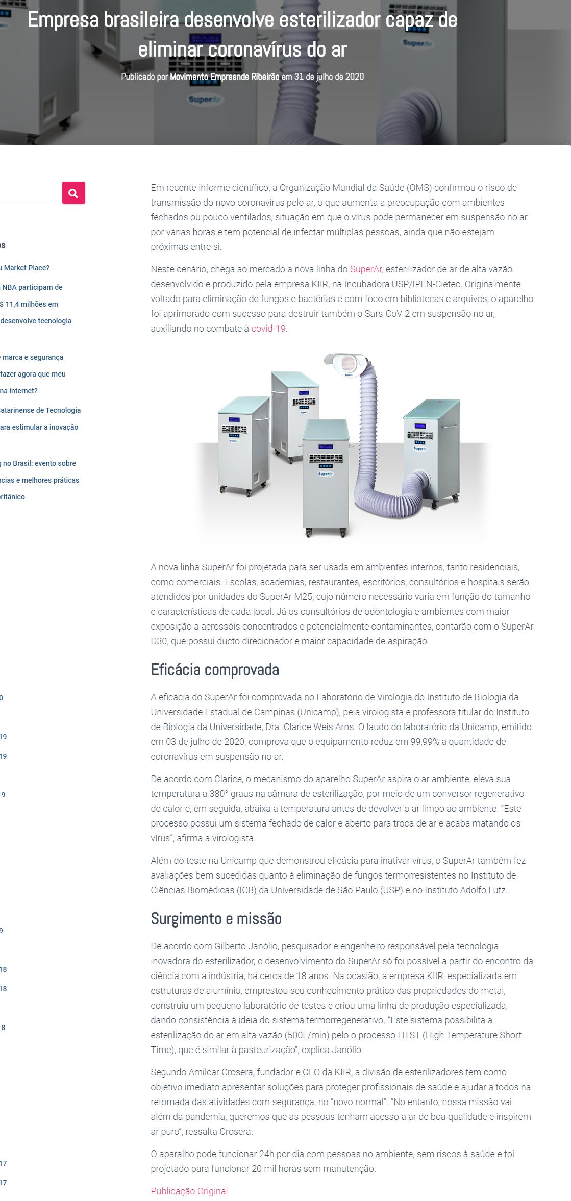 Empresa brasileira desenvolve esterilizador capaz de eliminar coronavírus do ar - Mover