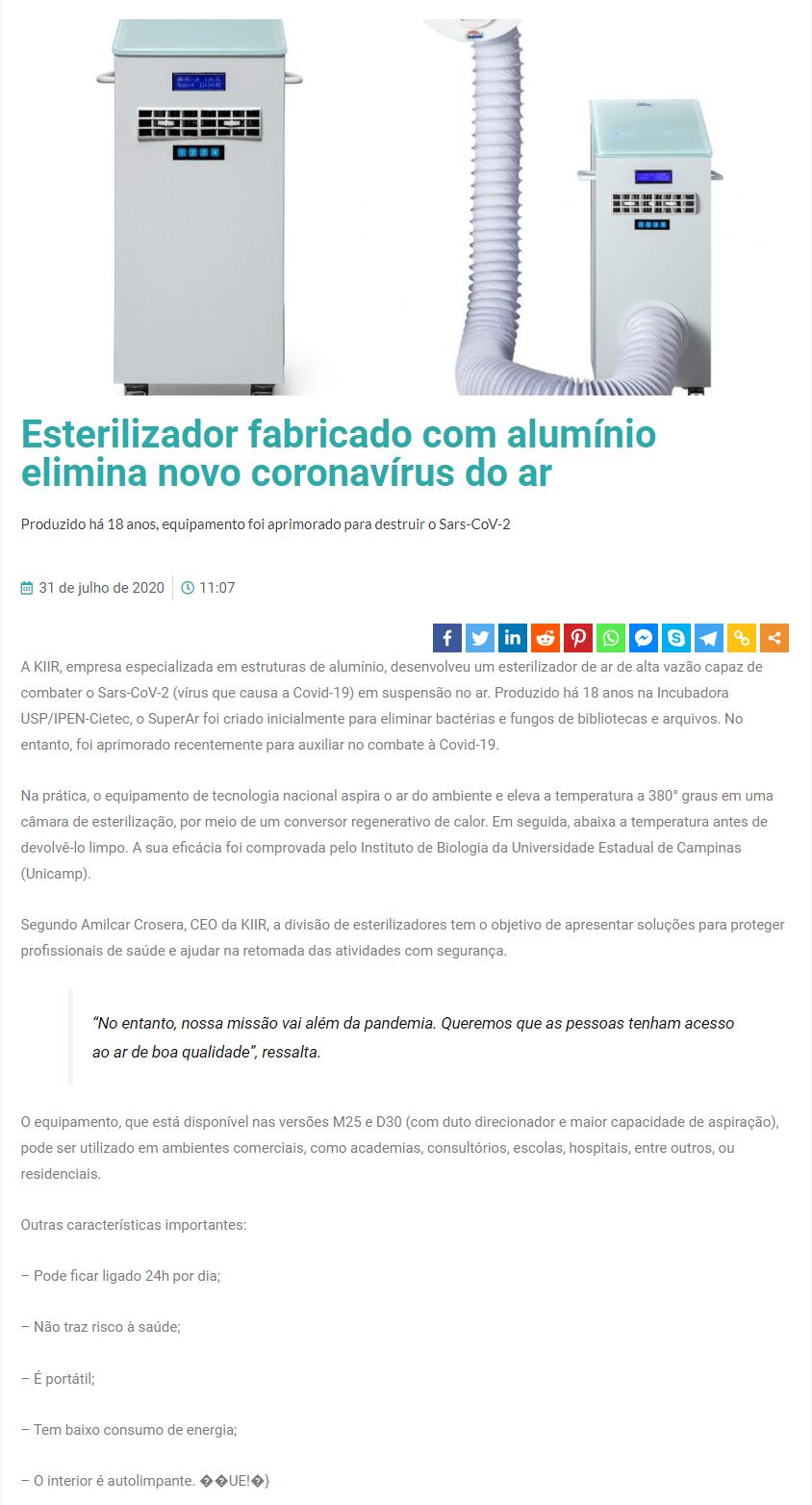 Esterilizador fabricado com alumínio elimina novo coronavírus do ar - Revista Alumínio