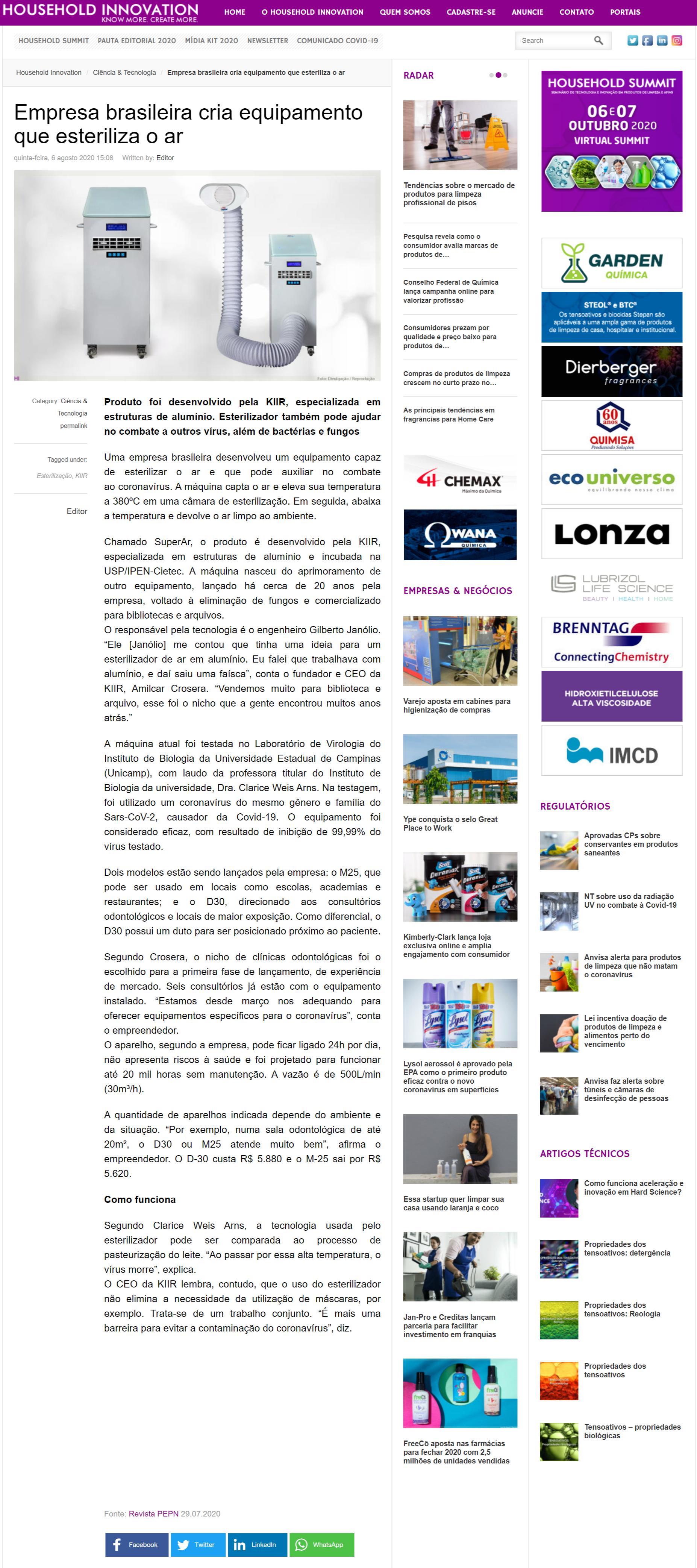 Empresa brasileira cria equipamento que esteriliza o ar - Household Innovation