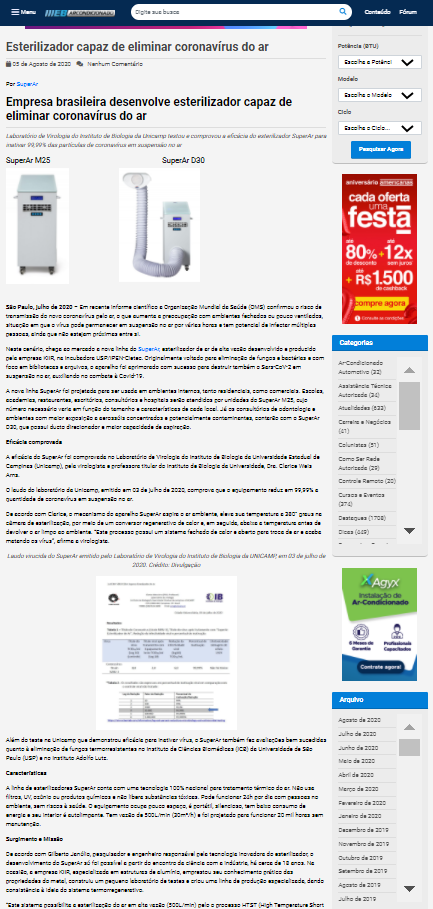 Empresa brasileira desenvolve esterilizador capaz de eliminar coronavírus do ar - Web Ar Condicionado
