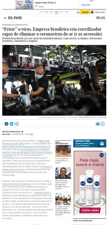 """""""Fritar"""" o vírus. Empresa brasileira cria esterilizador capaz de eliminar o coronavírus do ar (e os aerossóis) - El País"""