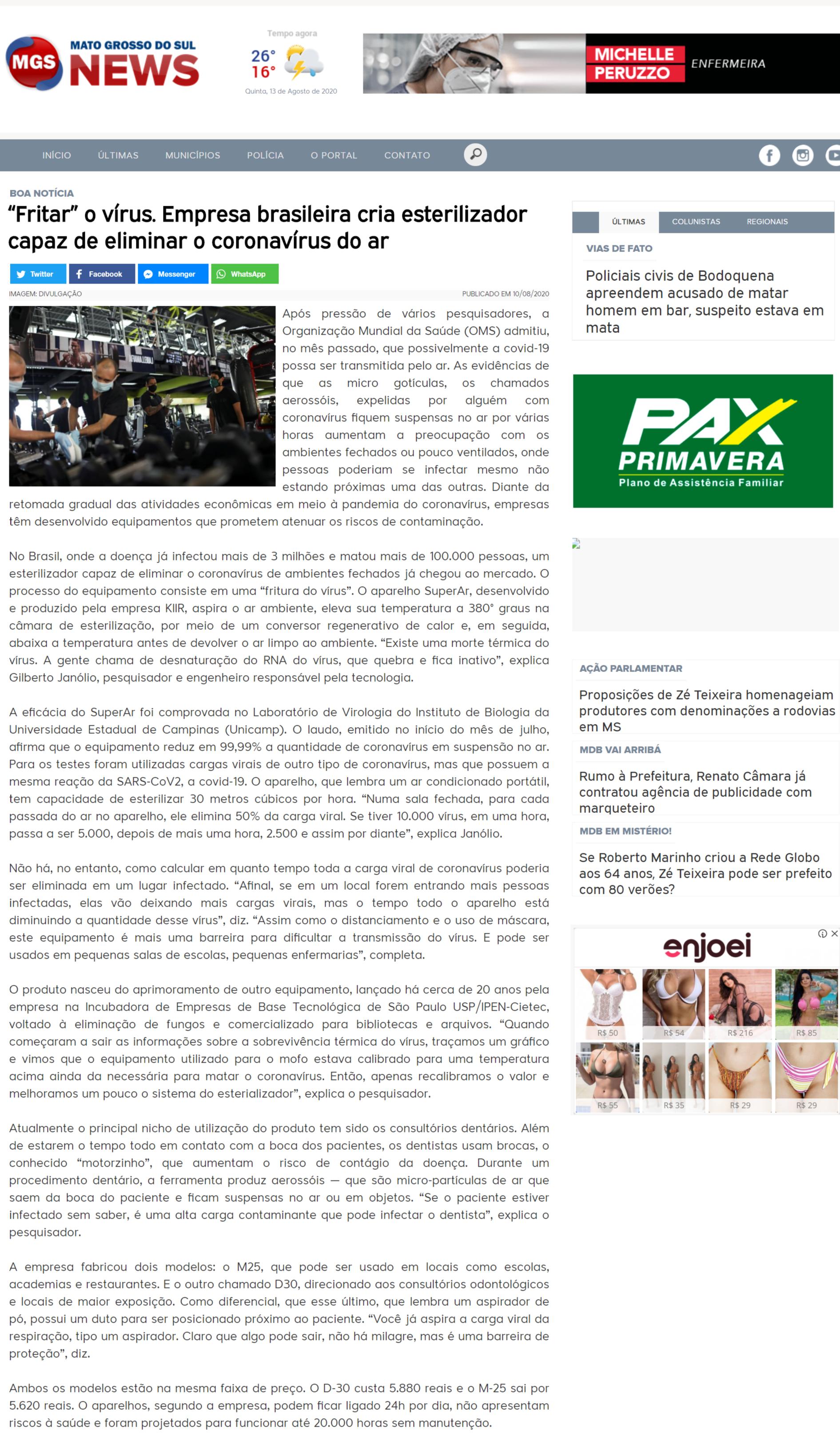 """""""Fritar"""" o vírus. Empresa brasileira cria esterilizador capaz de eliminar o coronavírus do ar - Mato Grosso do Sul News"""