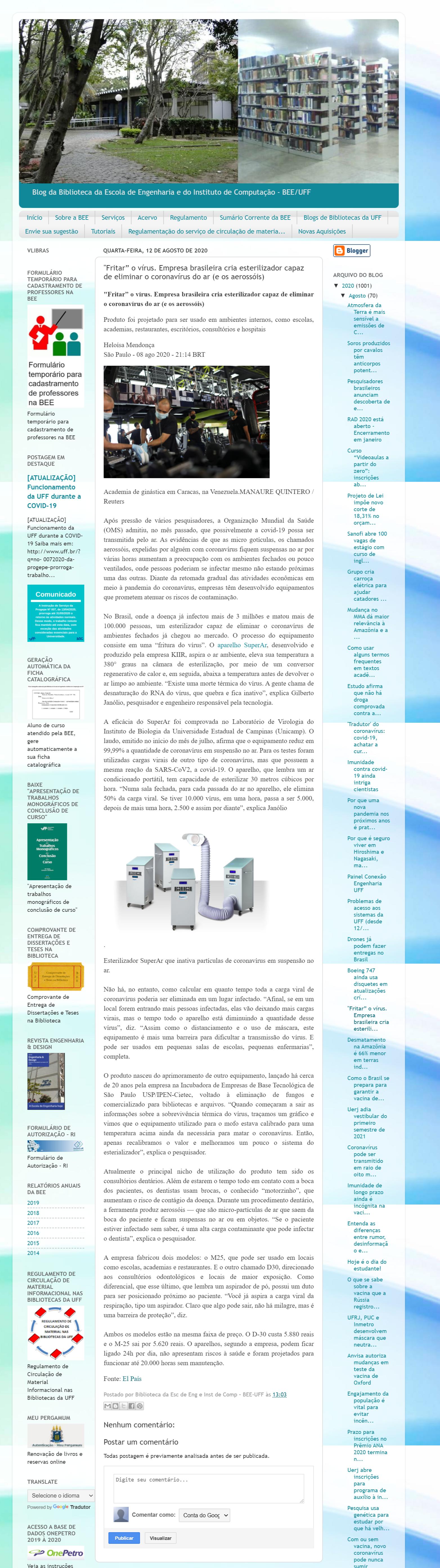 """""""Fritar"""" o vírus. Empresa brasileira cria esterilizador capaz de eliminar o coronavírus do ar (e os aerossóis) - Blog da Biblioteca da BEE/UFF"""