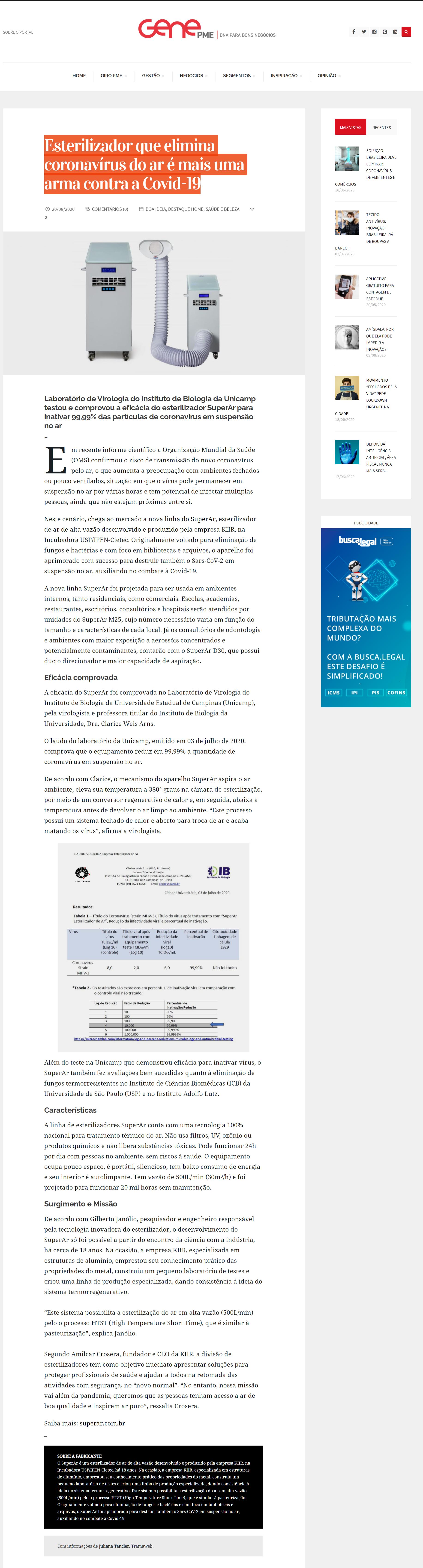 Esterilizador que elimina coronavírus do ar é mais uma arma contra a Covid-19 - Gene PME