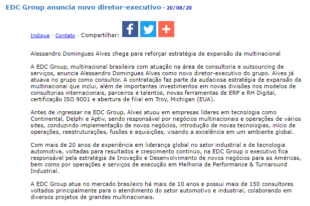EDC Group anuncia novo diretor-executivo - JorNow