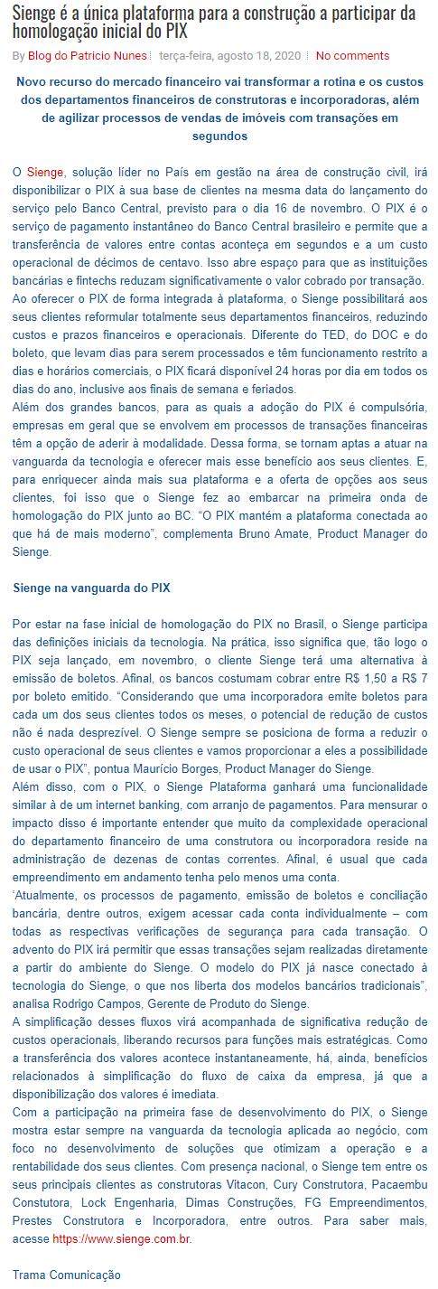 Sienge é a única plataforma para a construção a participar da homologação inicial do PIX - Blog do Patrício Nunes