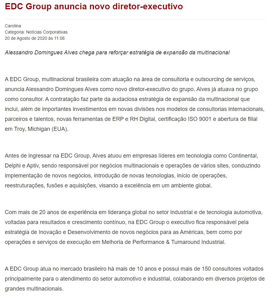 EDC Group anuncia novo diretor-executivo - Portogente