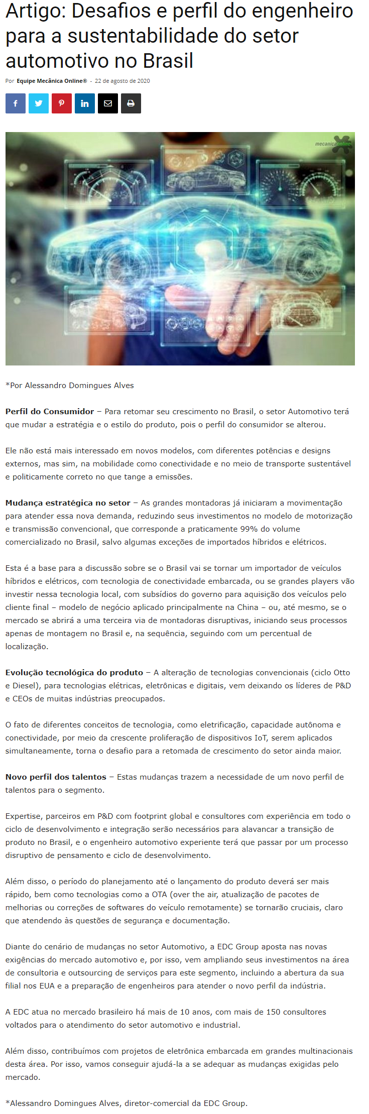 Artigo: Desafios e perfil do engenheiro para a sustentabilidade do setor automotivo no Brasil - Mecânica Online