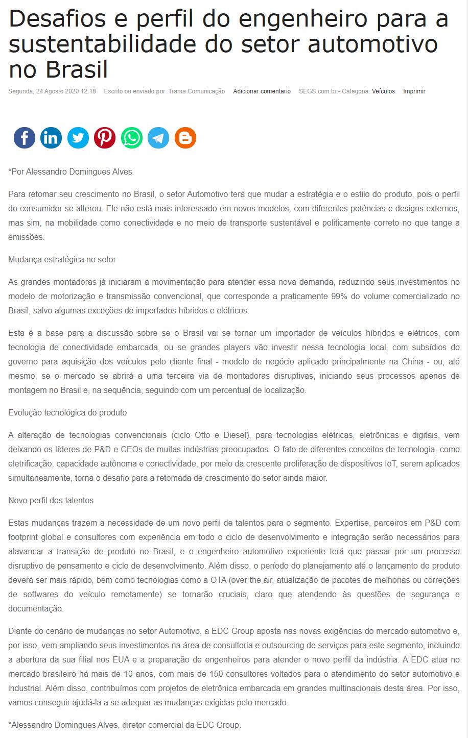 Desafios e perfil do engenheiro para a sustentabilidade do setor automotivo no Brasil - Segs