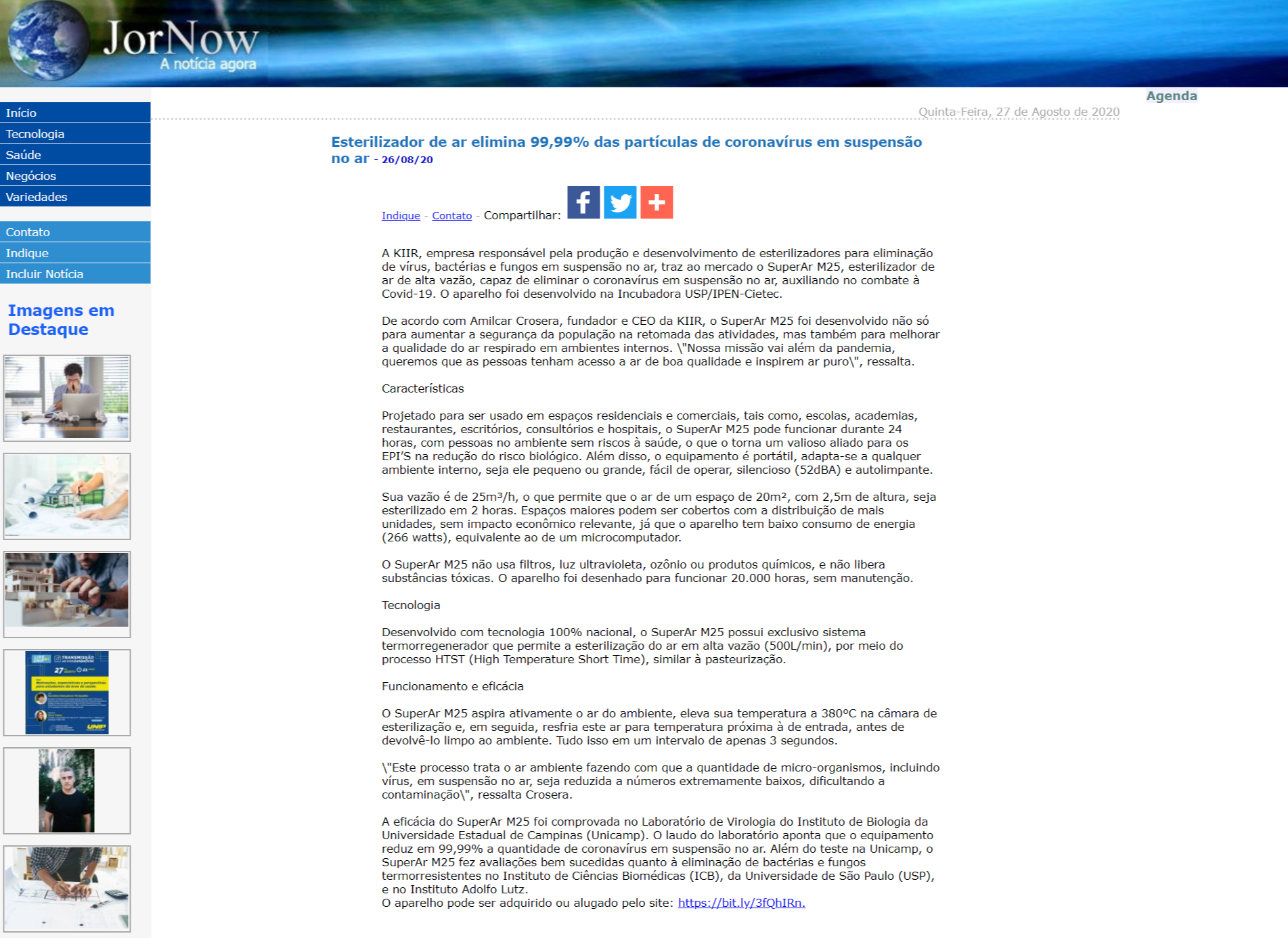 Esterilizador de ar elimina 99,99% das partículas de coronavírus em suspensão no ar - JorNow