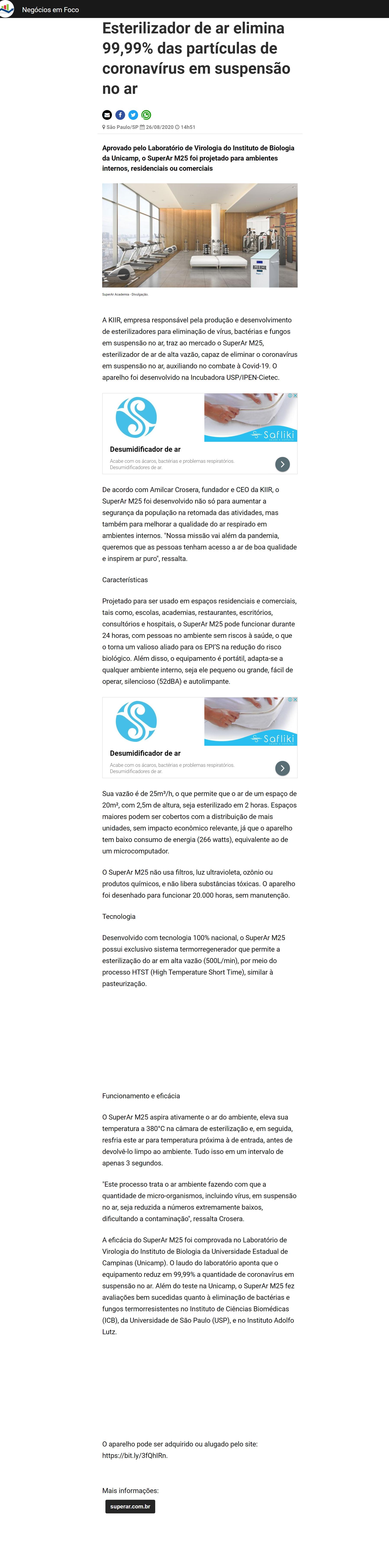 Esterilizador de ar elimina 99,99% das partículas de coronavírus em suspensão no ar - Negócios em Foco