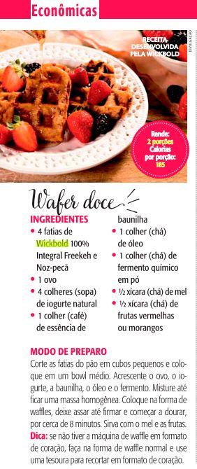 Wafer doce - Ana Maria Receitas (Revista Ana Maria)
