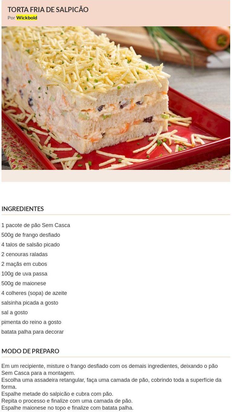 Torta fria de Salpicão - Receitas IG