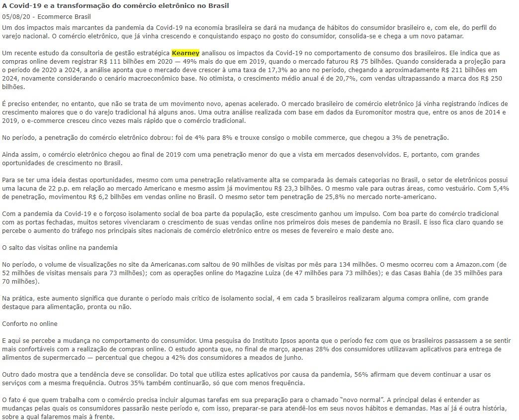 A Covid-19 e a transformação do comércio eletrônico no Brasil 05/08/20 Ecommerce Brasil