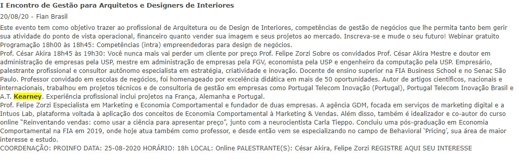 I Encontro de Gestão para Arquitetos e Designers de Interiores 20/08/20 Fian Brasil