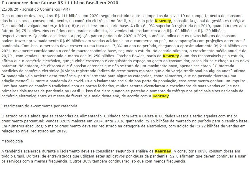 E-commerce deve faturar R$ 111 bi no Brasil em 2020 21/08/20 Jornal do Commercio (AM)