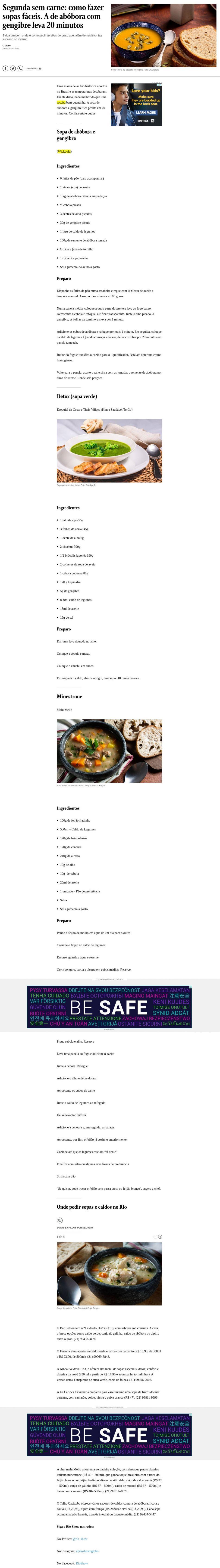 Segunda sem carne: como fazer sopas fáceis. A de abóbora com gengibre leva 20 minutos - O Globo (On-line)