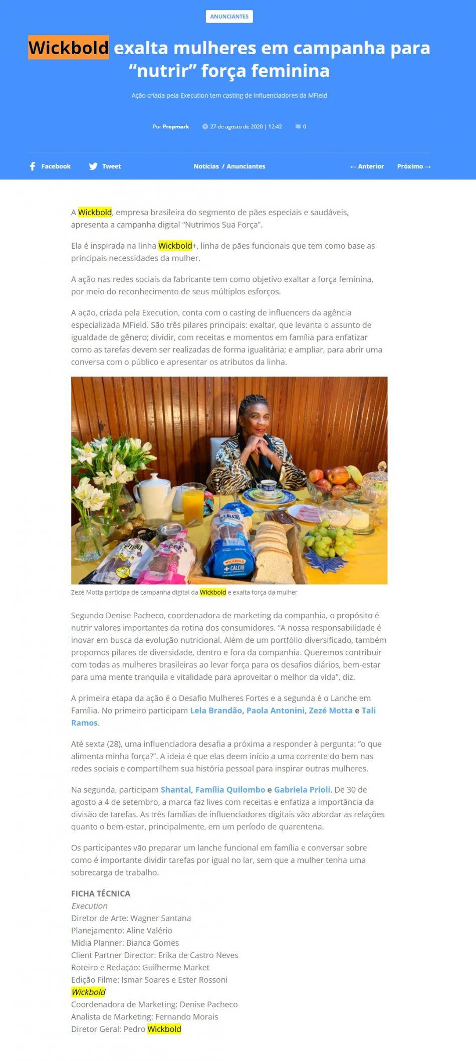 """Wickbold exalta mulheres em campanha para """"nutrir"""" força feminina - Propmark"""