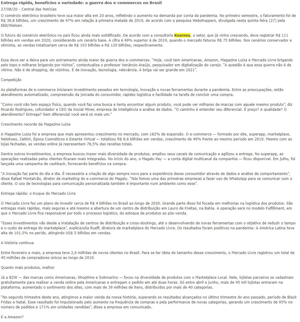 Entrega rápida, benefícios e variedade: a guerra dos e-commerces no Brasil 27/08/20 Central das Notícias